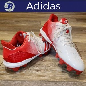 ⚽️ADIDAS Soccer Cleats-Red & White-3 Stripes 7.5